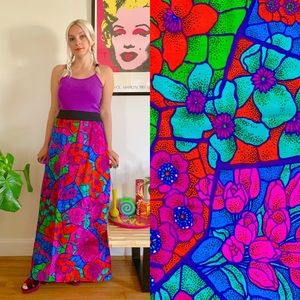 Vintage 70s psychedelic maxi skirt plus size